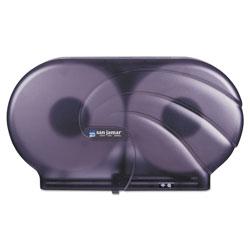 San Jamar Twin 9 in JBT Toilet Tissue Dispenser, Oceans, 19 x 5 1/4 x 12, Black Pearl