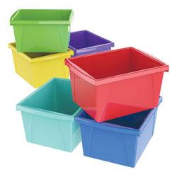 Storex Storage Bins, 10 x 12 5/8 x 7 3/4, 4 Gallon, Assorted Color, Plastic