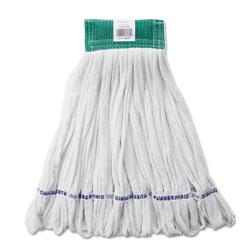Rubbermaid Rough Floor Mop Head, Medium, Cotton/Synthetic, White, 12/Carton