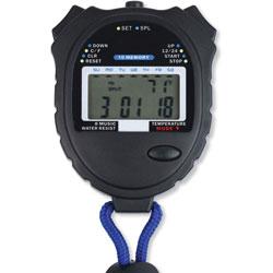 Tatco Stopwatch, Water-Resistant, 2-1/2 inWx3-1/4 inLx3/4 inH, Black