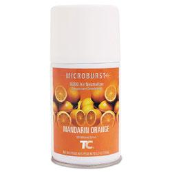 Rubbermaid TC Microburst 9000 Air Freshener Refill, Mandarin Orange, 5.3 oz Aerosol, 4/Carton