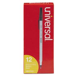 Universal Office Products Stick Ballpoint Pen, Medium 1mm, Black Ink, Gray Barrel, Dozen