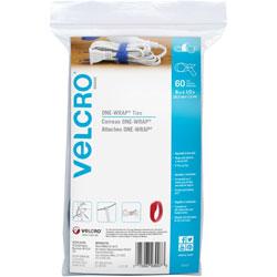 Velcro Tie, Reusable, 1/2 inWx8 inLx1/100 inH, 60/PK, Assorted