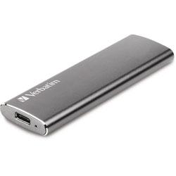 Verbatim External SSD, w/USB Cables, 500MB/s, 240GB, Silver