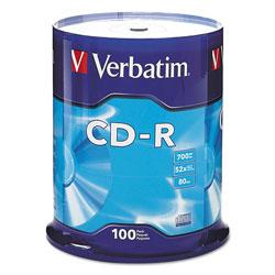 Verbatim CD-R Discs, 700MB/80min, 52x, Spindle, Silver, 100/Pack