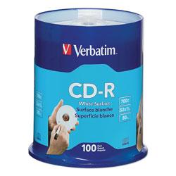 Verbatim CD-R Discs, 700MB/80min, 52x, Spindle, White, 100/Pack
