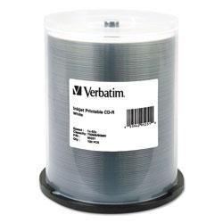 Verbatim CD-R, 700MB, 52X, White Inkjet Printable, 100/PK Spindle