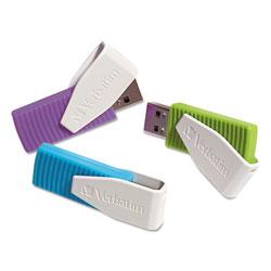 Verbatim Store 'n' Go Swivel USB Flash Drive, 8 GB, Assorted Colors, 3/Pack