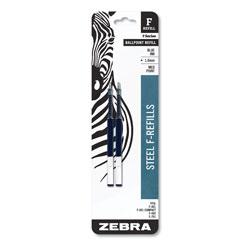 Zebra Pen F-Refill, Medium Point, Blue Ink, 2/Pack
